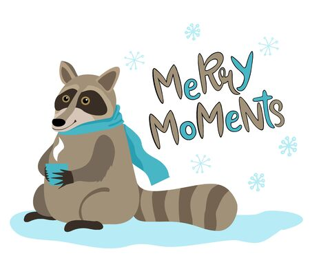 Christmas raccoon vector illustration. Raccoon in winter in a scarf drinks tea. Merry moments.
