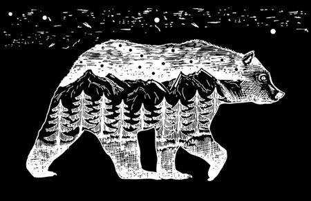 Graphic illustration in the form of a silhouette of a bear and nature inside. Night landscape of the moon lake, mountains and firs. Illustration for t-shirts, trenches or covers and tattoos.