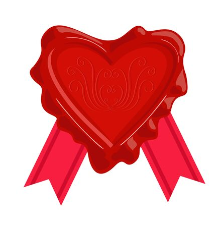 Wax stamps vector icon. Wax seal in the form of a heart. Vettoriali