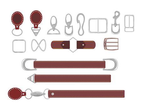 Cinturones de cuero con vector de colección de mosquetón. Ilustración de accesorio de gancho. Hebillas