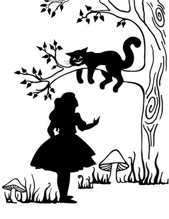 Alice and Cheshire cat. Lewis Caroll s characters in Alice in Wonderland. vector, vintage