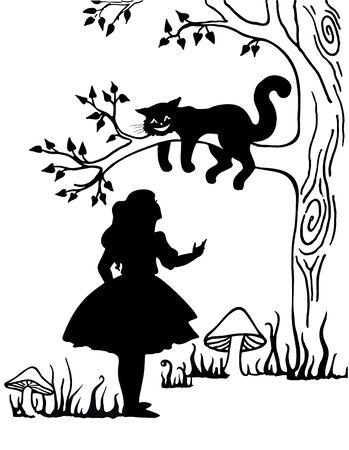 Alice e il gatto del Cheshire. I personaggi di Lewis Caroll in Alice nel Paese delle Meraviglie. vettore, vintage Vettoriali