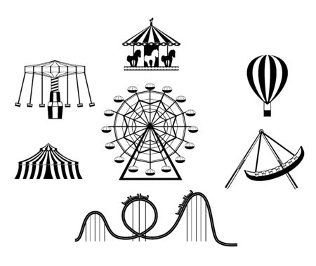 Amusement park black icons. Recreation fun attractions signs, ferris wheel, carnival carousel, circus, skyline train roller coaster and festival fun tents symbols Фото со стока - 131997996