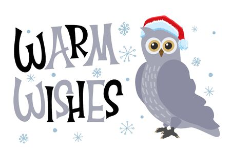 Cute owl with Santa Claus hat in a snowy day. Warm wishes for lettering. Stock Illustratie