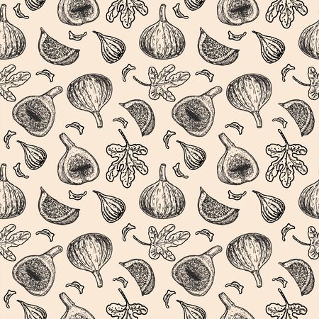 Sweet figs vector seamless pattern. Vintage style. Summer food engraved style illustration. Detailed vintage botanical sketch. Great for label, poster, print, menu