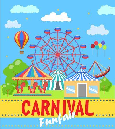 Vector illustration of the carnival funfair design. The carnival funfair and amusement poster, poster, flyer. Illustration