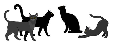 Black cat set. Black Cat silhouette vector isolated on white illustration.