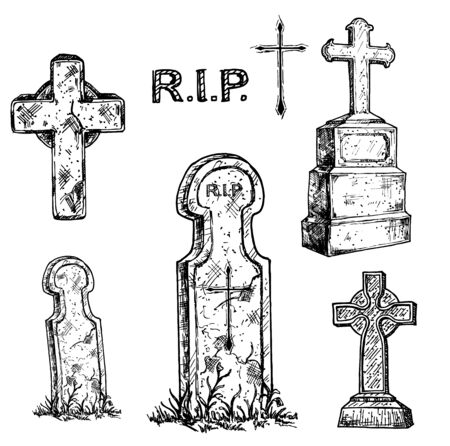 Tombstones and grave crosses set. Old marble stone tombstone with christian cross and title R.I.P.
