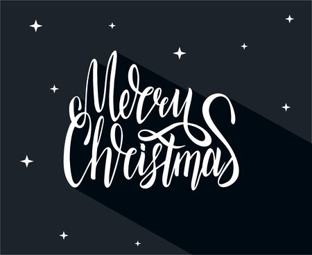 Merry Christmas Lettering with long shadow, isolated on dark background.