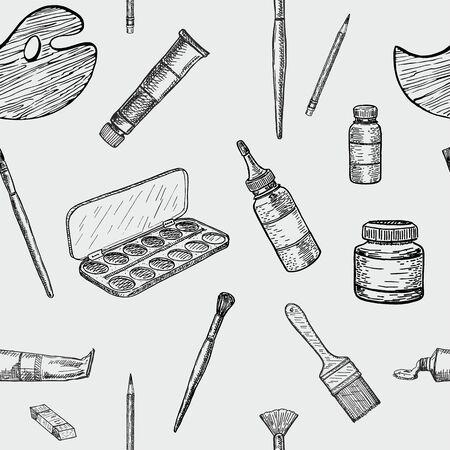 Painter seamless pattern. Sketch. Line art detailed. Endless vector illustration