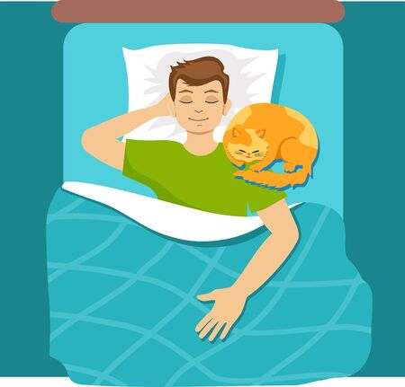 Man sleeping in bed with cat. Guy chilling at home with comfortable cat in relaxing position. Sleep, rest. 向量圖像