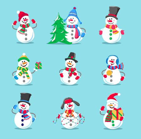 Set of winter holidays snowman. Cheerful snowman in different costumes. Snowman with candy and gifts.
