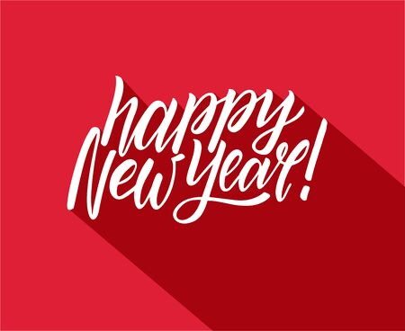 Handwritten brush lettering of Happy New Year on red background. Lettering with long shadow.