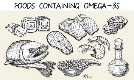 Best sources of omega 3 vector sketch. Health Care concept sketch Vector Illustration