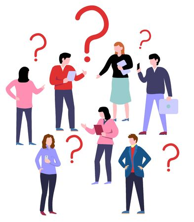 People have question. Question marks, different age business team vector character