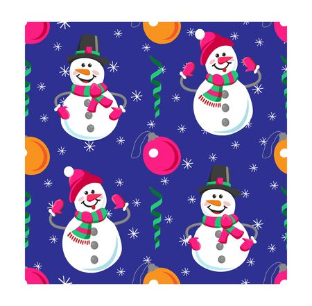 Seamless pattern of winter holidays snowman. Cheerful snowman and christmas balls. Perfect for wallpaper, wrapping paper, pattern fills, winter greetings, web page background.