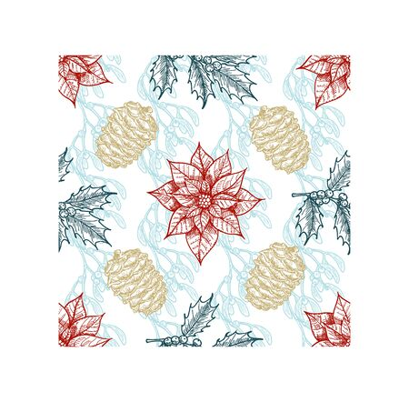 Christmas plants seamless pattern. Branch of holly, spruce, pine, boxwood, cones. Design elements isolated on white background. Christmas, xmas botanical sketch.