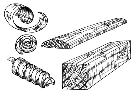 Sketch lumber. Wood logs, shavings, planks. Forestry construction materials hand drawn set
