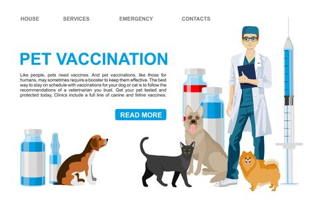 Pet vaccination landing page. Veterinary services - vaccination. Pet care vector banner template. Veterinarian dogs cat characters. vector illustration Illustration
