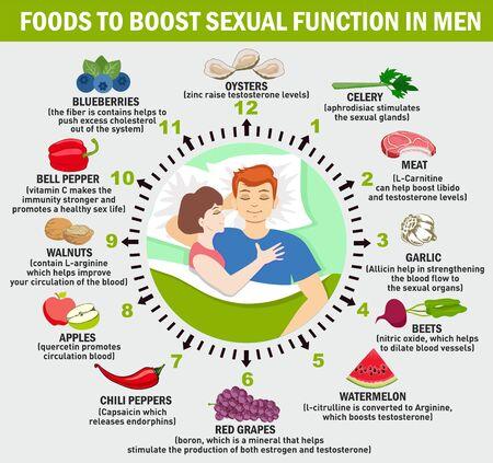 Función de refuerzo de alimentos en hombres. Infografía de vector. Concepto científico, educativo y científico-divulgativo. Salud sexual de los hombres. Ilustración de vector