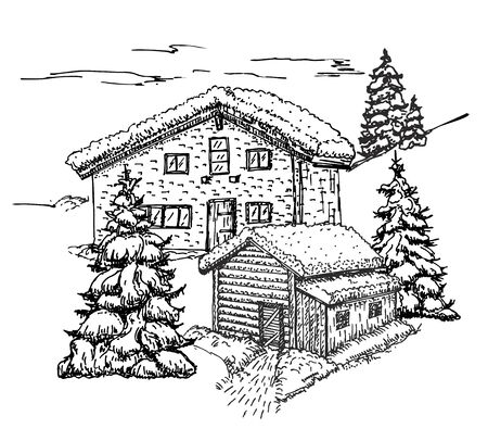 House in the winter forest sketch. Christmas background, house in the snow landscape vector illustration