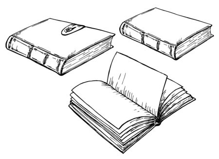 Cuadernos de dibujo. Pila de libro de dibujo a mano vintage. Símbolos de educación de literatura de biblioteca