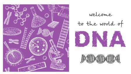 Gentechnik-Vektor-Illustration. Gen-DNA-Therapie von GVO-Mutationsforschungs-Landingpage-Drahtmodell. Klonen oder DNA-Manipulation