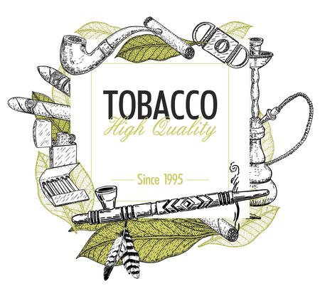 Hand drawn posters with tobacco and smoking collection. Sketch background with cigarettes, cigars, hookah, tobacco leaves, pipes.
