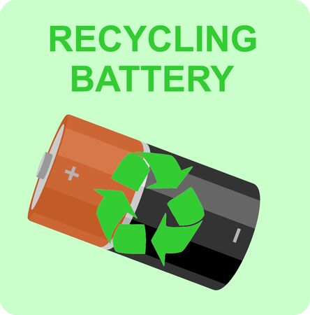 Battery recycling. Battery with recycle sign over green background Illustration