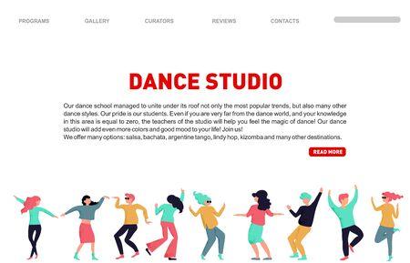 Dance studio landing page. Vector dancing people illustration. Dancing studio rehearsal. Young men and women attending dancing classes. Dance school class, landing page