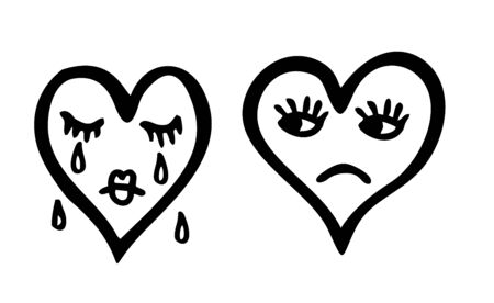 Vector illustration of sketch character heart. Sad and crying heart emoticon. Two hearts. Çizim