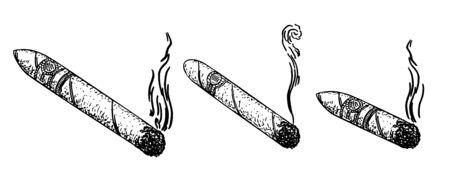 I sigari hanno impostato l'illustrazione di vettore dell'incisione. Imitazione dello stile di schizzo. Immagine disegnata a mano in bianco e nero Vettoriali