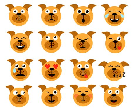 Dog emoticon. Animal emoticons. Dog face icons, funny friend cartoon pack isolated on white, vector illustration.