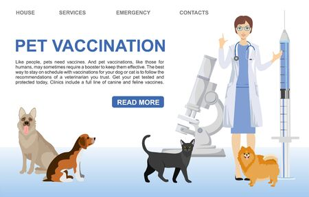 Pet care vector banner template. Pet vaccination landing page. Veterinarian dogs cat characters. Pet vaccination in a veterinary clinic.