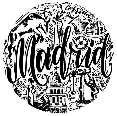 Madrid landmarks and Spain traditions symbols vector illustration. For travel card, poster, print design, t-shirt design. Print design. Bullfighting, flamenco, guitar, football. Sketch design