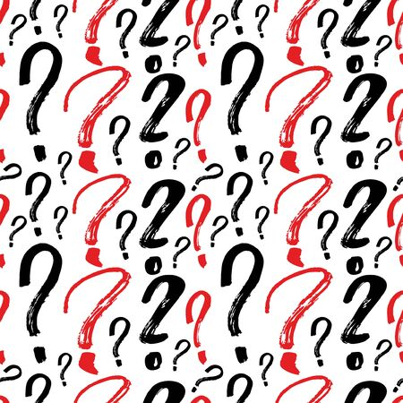 Question marks seamless pattern. Vector sketch question marks background