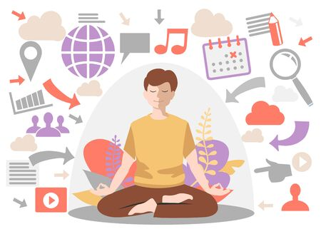 Personal space concept. Man introvert. Meditation, calm flat male character, vector illustration. Information overload concept. Dome filter protects the man from unnecessary information.