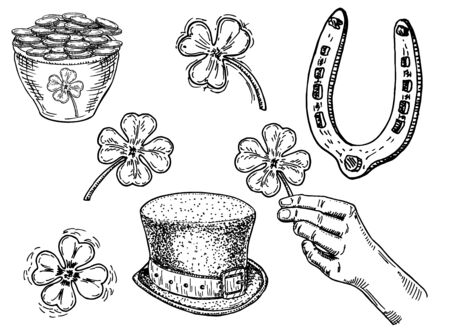Saint patrick s Day sketch icon illustration set. March 17. Feast of St. Patrick. Isolated vector illustrations Archivio Fotografico - 138012881