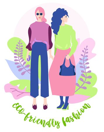 Eco-friendly fashion. Eco friendly party with two girls. Eco illustration. People use ecological clothes. Eco-friendly characters. Save the planet. Vector isolated on white background. Çizim