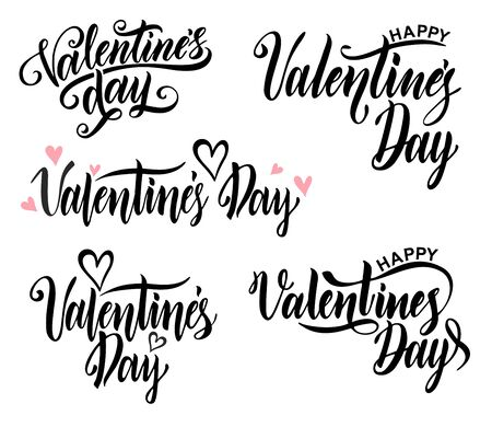 Happy Valentine s Day ard. Typography background vector illustration. Valentine hand lettering text isolated on white background.