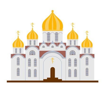Christian Church. Orthodox church. Flat Cartoon style chapel with cross, chapel, domes. Orthodox church buildings vector isolated on white background. Holy traditional symbol. 일러스트