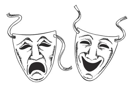 Sketch style drama or theater masks illustration in vector format suitable for web, print, or advertising use.Two ancient traditional greek game human masks costume isolated on white background.