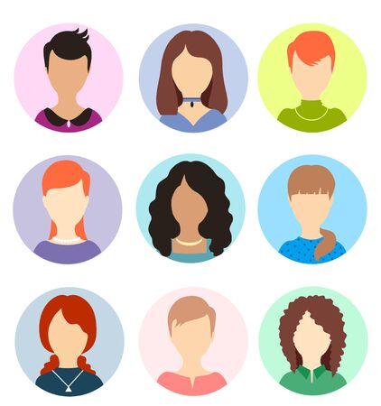 Avatares de mujeres sin rostro. Retratos anónimos humanos femeninos, iconos de avatar de perfil de vector redondo de mujer, imágenes de cabeza de usuarios de sitios web. Colección de retratos de personas de mujeres
