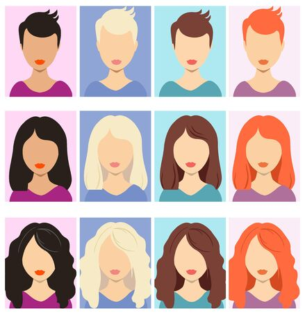 Woman faceless avatars. Female human anonymous portraits, woman rectangular vector profile avatar icons, website users head pictures. Set of different girls hairstyle for short, medium, long hair Vektorové ilustrace