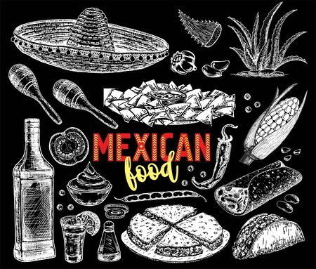 Mexican food background with traditional spicy meal and chalkboard hat vector illustration. Hand sketch vector illustration. Vintage Mexico cuisine set. Vector Illustration