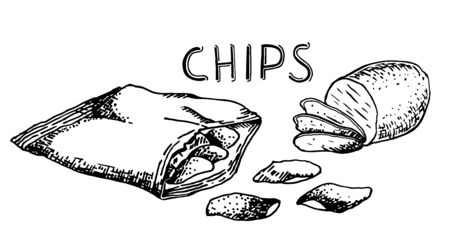 Vector hand drawn snack and junk food Illustration. Potato chips. Vintage style sketch