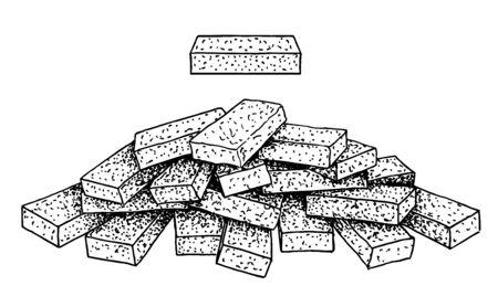Stack of brick sketch. Group of loose bricks on white background. Construction material brick on transparent background. Illustration