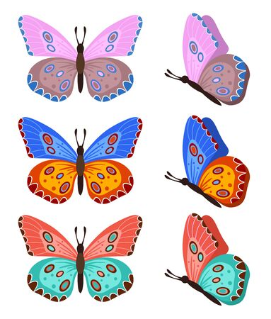Butterflies isolated on white background. Colored butterflies. Pretty vector butterfly set with spring palette for child Archivio Fotografico - 140280122