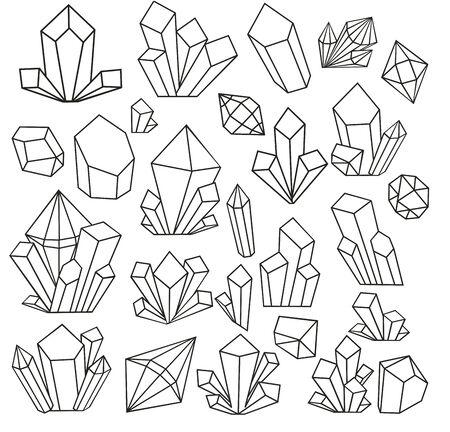 Grafische Kristalle im Linienstil gezeichnet und auf weißem Hintergrund isoliert. Set mit geometrischem Polyeder, Art-Deco-Stil für Hochzeitseinladung, Luxusvorlagen. Vektor-Illustration. Malbuch Vektorgrafik