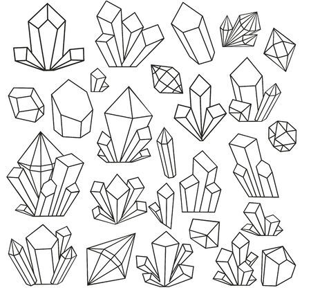 Graphic crystals drawn in line art style and isolated on white background. Set with geometrical polyhedron, art deco style for wedding invitation, luxury templates. vector illustration. Coloring book